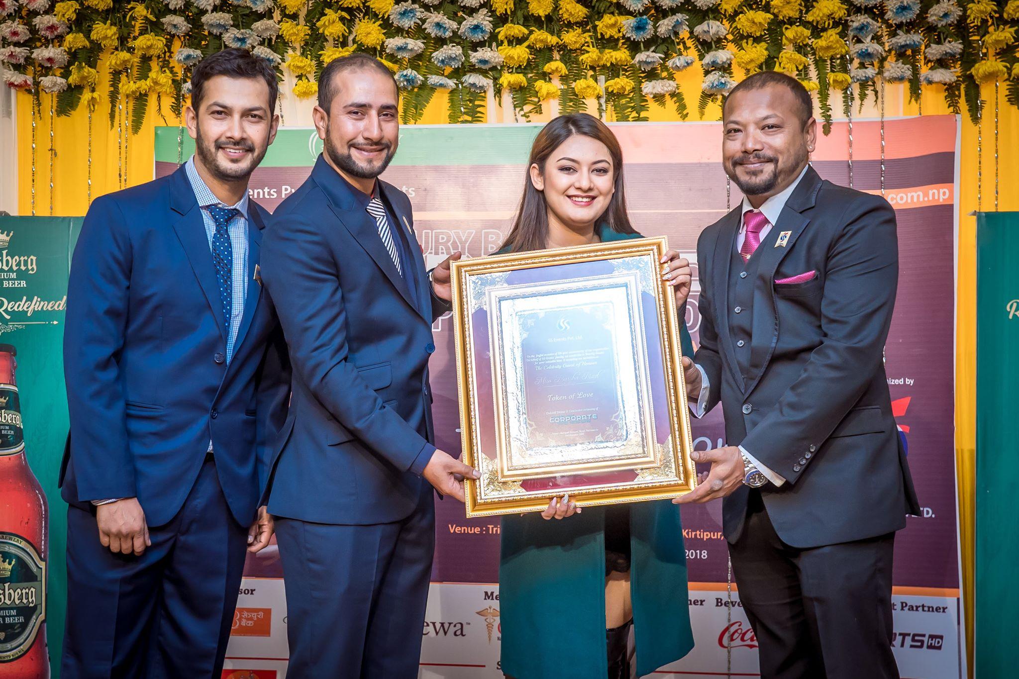 'सेलिब्रेटी गेस्ट अफ अनर'को रुपमा बर्षा सम्मानित